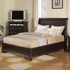 Come see our great selection of beds at Big Lots!      Constructed of hardwood & cherry veneers     Rich espresso finish     Includes headboard, footboard, side rails & center support