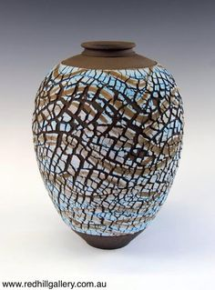Bill Powell 'Matt Blue Textured Vase' 22x30cm. 61 Musgrave Road, Red Hill Brisbane, QLD, Australia. art@redhillgallery.com.au