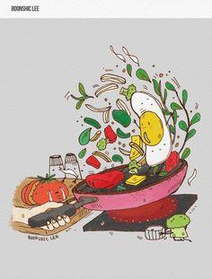 별거 없는 자취생의 요리 뜨겁고 신나고 서글픈 요리 Cut the ingredients throughly to keep them from surviving on the hot frying pan.