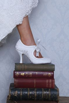 df6103fd80697c Bianca Ivory Lace and Leather Vintage Mary Jane Shoes by Perfect Bridal - A  quirky vintage-inspired Mary Jane bridal shoe with soft scalloped leather  ...
