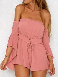 Sexy bustier chiffon black jumpsuit romper summer v neck pleated playsuit Halter backless flare sleeve overalls Casual Outfits, Cute Outfits, Sexy Outfits, Summer Outfits, Girl Outfits, Off Shoulder Romper, Flare, Short Jumpsuit, Jumpsuit Style