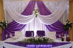 white Wedding backdrop with grape purple swags 10 ft Tall x … – Wedding Suite Wedding Stage Decorations, Backdrop Decorations, Backdrop Wedding, Backdrop Ideas, Purple Swag, Party Kulissen, Head Tables, Wedding Background, Backdrops For Parties