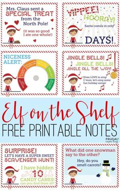 FREE Elf on the Shelf Notes. Printable Elf notes that promote new easy elf ideas daily. FREE Elf on the Shelf Notes. Print these cute elf notes for ideas each evening. New ideas daily on Frugal Coupon Living. Elf On The Shelf, Elf On Shelf Notes, The Elf, Christmas Activities, Christmas Printables, Christmas Traditions, Family Traditions, Christmas Projects, Christmas Elf