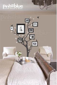 Perfect Guest room! Tree Wall Decals Wall Stickers - Family Tree Wall decal - Photo frame tree decal. $69.00, via Etsy.