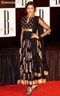 Deepika in black anakali suit at amitabh bachchan's 70th birthday