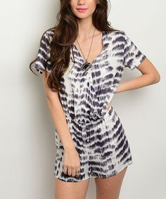 Look what I found on #zulily! Forever Lily White & Charcoal Tie-Dye V-Neck Romper by Forever Lily #zulilyfinds