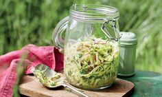 Kohlrabi, cabbage and caraway salad  A perfect way to add a little crunch. serves 6-8  cabbage 400g, white or red or hispi salt 10g kohlrabi 2, peeled chervil or flat-leaf parsley 2 tbsp red onion ½, thinly sliced caraway seeds 1 tsp  For the dressing lemon juice of ½ apple cider vinegar 1 tbsp Dijon mustard ½ tsp extra virgin olive oil 6 tbsp pepper