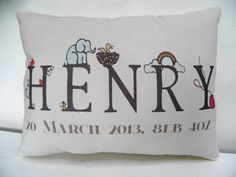 Personalized Name Pillow Boy Nursery Decor by TheSewingCroft, £18.00