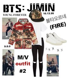 """""""BTS: JIMIN """"Fire"""" M/V Outfit #2"""" by itzbrizo ❤ liked on Polyvore featuring New Look, Lauren Ralph Lauren, Yves Saint Laurent and Fire"""