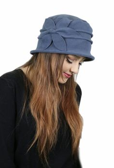Fleece Flower Cloche Hat For Women with large heads. Soft and warm 2c6aa392474