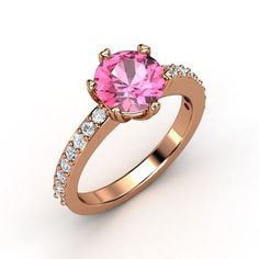 The Majesty Band customized in pink sapphire, diamond and rose gold #solitaireengagementring