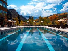 WESTIN RIVERFRONT RESORT & SPA AT BEAVER CREEK MOUNTAIN Avon, CO We'd visit this resort just to work out. Not only does the pool overlook, you know, heaven—but the fitness room (located on the ground floor in the bottom left of this photo) does too.