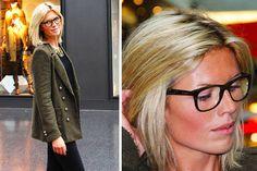 blond hair with black frame glasses