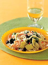 Mediterranean Skrimp w/ artichoke hearts, kalamata olives and spinach