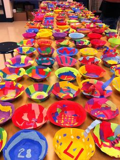 Chihuly-inspired art installation from paper scraps, Art Paste, and styrofoam bowls.