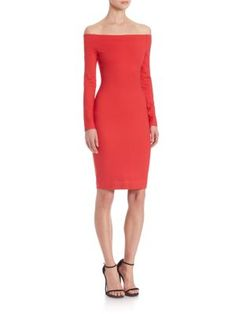 L agence red dress holiday