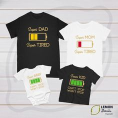 Super Dad Super Tired Super Mom Super Kid Super Baby Can't stop won't stop Battery empty matching couple shirts matching shirts father kids Matching Couple Shirts, Matching Couples, Matching Family Outfits, Couple Tshirts, Mothers Day Shirts, Dad To Be Shirts, Kids Shirts, Super Papa, Types Of T Shirts
