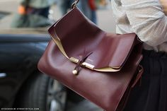 Celine Burgundy Red Brown Medium Clasp Messenger