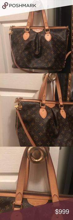 """Louie Vuitton Palermo PM Purse 💯 Authentic Craving a bag that is chic and feminine? This newer styled Louis Vuitton Monogram Canvas Palermo PM Bag is the one for you. It features stylish details such as inverted pleating and a goldtone zipper LV pull. There is also a detachable and adjustable long shoulder strap that can be worn on the shoulder for hands-free convenience. A bag you will want to tote everywhere you go. Measurements: 14.5"""" L (from the top) x 6.5"""" W x 11"""" H Interior: 3 flat…"""