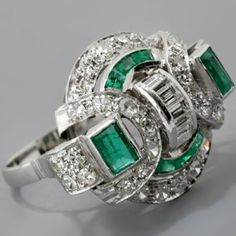 lovely emerald and diamond deco ring