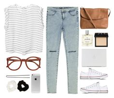 preposition. by nut-and-nude on Polyvore featuring Monki, Zara, Converse, Pieces, Forever 21, Hershesons, NARS Cosmetics and Miller Harris