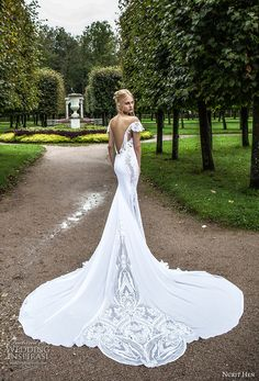 nurit hen 2017 bridal off the shoulder short sleeves deep plunging v neckline heavily embellished bodice elegant fit and flare wedding dress open v back royal train (6) bv -- Nurit Hen Ivory and White 2017 Wedding Dresses  #wedding #bridal #weddingdress