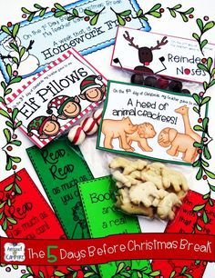 "Do you need something to keep students learning the last 5 days before Christmas or winter break? Try these simple daily gifts with matching activity pages.  Students use the treats to complete the tasks! Read how this saved my sanity during that last crazy week before break! ""Christmas"" and  ""Winter"" break versions."