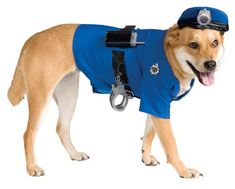 $16.08-$19.99 Police Dog Pet Costume, Large - Even if he can't bark your miranda rights or tell you to put your hands behind your back, in this costume he'll be so adorable your movements will be arrested. Police dog pet costume includes a blue shirt, a matching police hat, and a belt with police accessories. http://www.amazon.com/dp/B002GWUE38/?tag=pin2pet-20