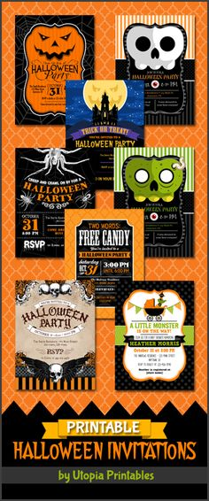 Printable Halloween party invitations. Premium professional digital party invite templates with unique designs to fit your Halloween idea, style or theme. Perfect for cute, creepy or spooky themed parties for kids, adults and baby showers. Variety of designs featuring skulls, spiders, jack o lanterns, haunted house, monsters & more. These customized announcement cards will be personalized with your custom text. DIY file that you can download and print at home.