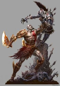 Amazing God of War Artwork by the famed comic book illustrator, Andy Park. Andy began his career over 15 years ago as a comic book artist when he was Kratos God Of War, Video Game Characters, Fantasy Characters, Jeux Nintendo 3ds, God Of War Series, War Tattoo, Andy Park, Park Art, Comic Book Artists