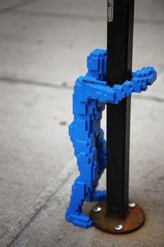 Lego graffiti! This little guy is so much fun. Hugman by Nathan Sawaya
