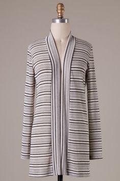 Long sleeve striped knit cardigan