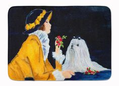 Lady with her Maltese Machine Washable Memory Foam Mat SS8537RUG