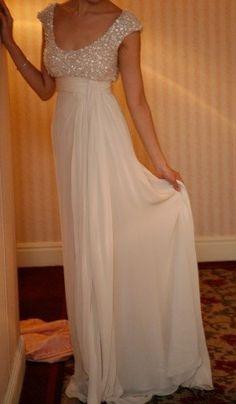 beaded bodice scoop empire waist column chiffon wedding dress. $254.00, via Etsy.