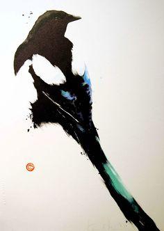 Magpie #3  - Karl Martens - watercolor