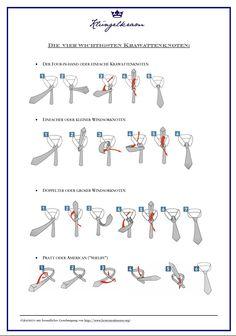 Krawatte binden - die vier wichtigsten Knoten für Ihren Schlips.   Klüngelkram