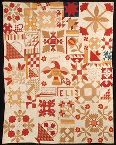 Sunnyside Album; Quiltmaker: Sunnyside schoolchildren; Geographical Origin: Made in Miami County, Ohio, United States; Date: Dated 1894