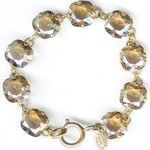 Large Stone Crystal Bracelet - Champagne and Gold La Vie Parisienne Jewelry by Catherine Popesco