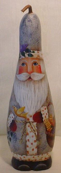Santa in the Woods Hand Painted Gourd by InspiredEndeavours by oldrose