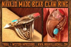 Navajo Made Turquoise And Red Coral Sterling Silver Bearclaw Large Ring - By M Thomas Jr.- Tribal And Western Impressions- Old West Cowboy And Indian Store - www.indianvillagemall.com