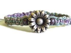 Hemp bracelet macrame purple blue daisy Czech by TheRottenRooster,
