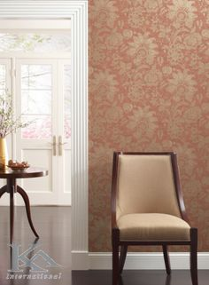 York Wallcovering - york wall com - Aged Elegance Go Wallpaper, Damask Wallpaper, Ashford House, Brand Collection, Accent Chairs, Curtains, Elegant, Room, York Wallcovering