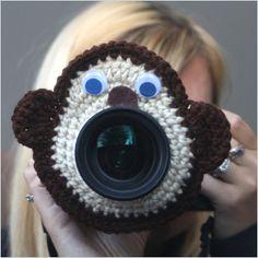 Camera lens buddy Crochet lens critter Monkey by Swifferkins, $14.99
