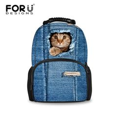f5cd4c1867 2016 Women Backpacks 3D Animal Jeans Kitty Cat Backpacks School Bagpack For  Teenager Girls Ladies Travel Laptop Backpack Bags
