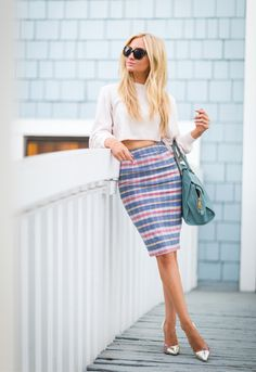ecstasymodels:  Plaid Pencil Skirt  Angel Food Style