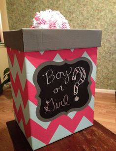 gender reveal box! This would be cute filled with baby stuff or balloons