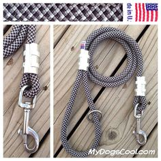 Gray Wolf Climbing Rope Dog Leash. Black & Gray with Stainless Steel clip or Carabiner. The Best Walking and Training Leashes for Big Dogs. Made in