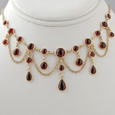 Victorian Garnet Necklace Antique Style / Special Order