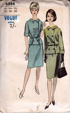 60s Double Breasted Skirt Suit Pattern Vogue 6244 Bust 36 inches UNUSED Factory Folded
