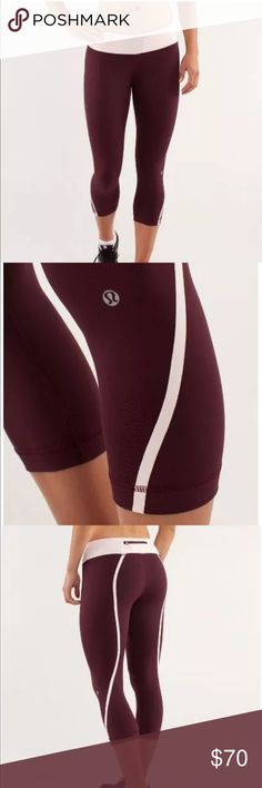 $98 LULULEMON RUN: TRACK TIME CROP SIZE 4 Bordeaux I've worn these crops a few times. Tag included but not attached.  I have the matching top to go with it, see my other listing and bundle. I am cleaning out my closet. I have close to 300 Lululemon pieces and barely wear most of them. Some are still NWT. I am trying to list them all, come back  Tech specs•designed for: run •fabric(s): Power Luxtreme® II •properties: moisture wicking, chafe resistant, four-way stretch, Nakedseam…